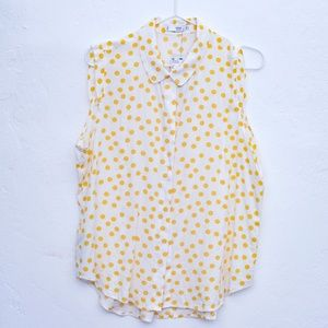 Mango Yellow Polka Dot Sleeveless Button Down NWT